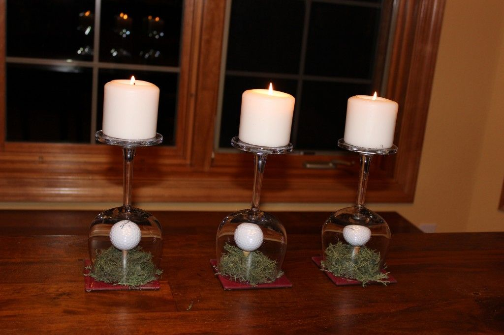 A pretty golf themed centerpiece.