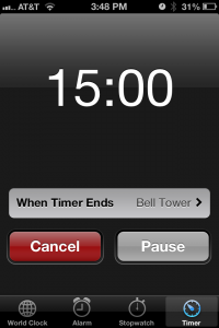 Set your timer to 15 minutes and GO!
