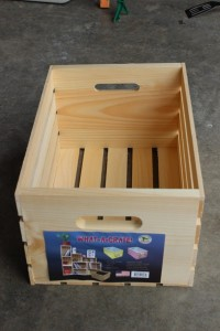 Wooden crate used to make cubbie shelves.