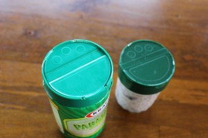Great use for parmesan cheese lids.  Perfect fit for your mason jar!