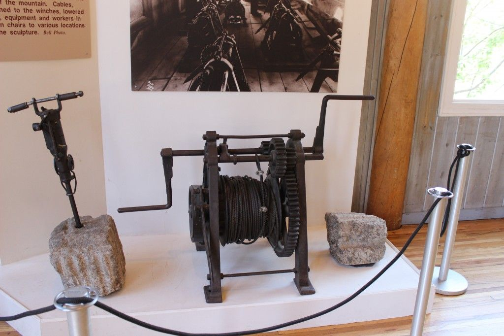 The winch which lowered the carvers.