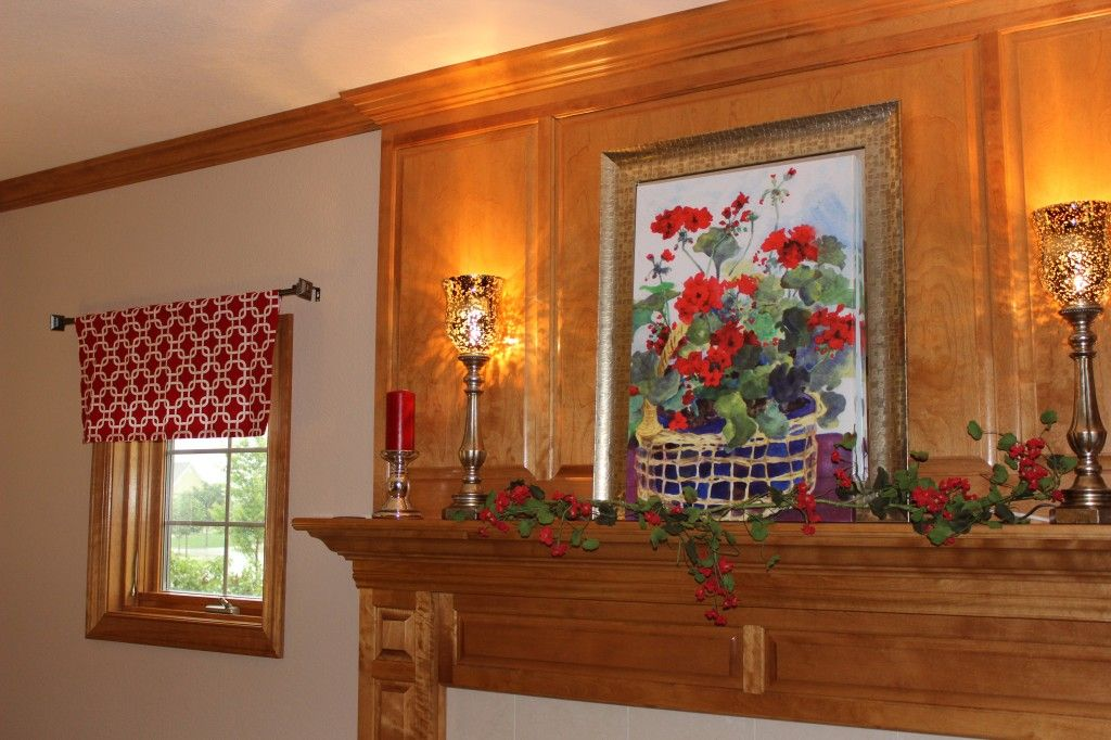 freshening up the family room Red valance with geranium mantle