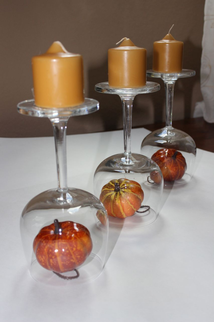 Recycled wine glasses fall glass centerpieces