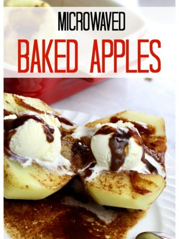 baked apples with ice cream.