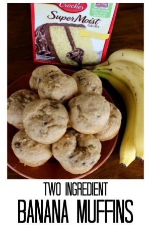 two ingredient muffins with a box of cake mix and ripe bananas
