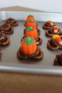 Pretzels with Hershey Kisses and pumpkins!