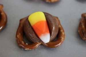 Pretzel and Hershey Kisses treat with candy corn.