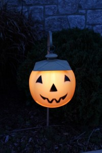 Jack-o-lantern walkway lights at night
