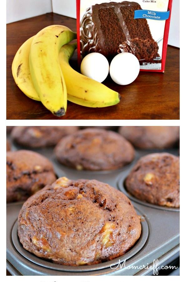 Banana chocolate muffins – 3 ingredients.