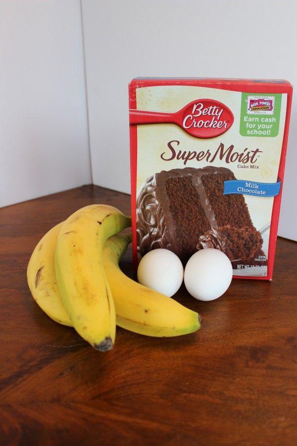 Three ingredient banana chocolate muffins.