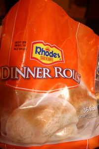 What Rhodes dinner roll package looks like.