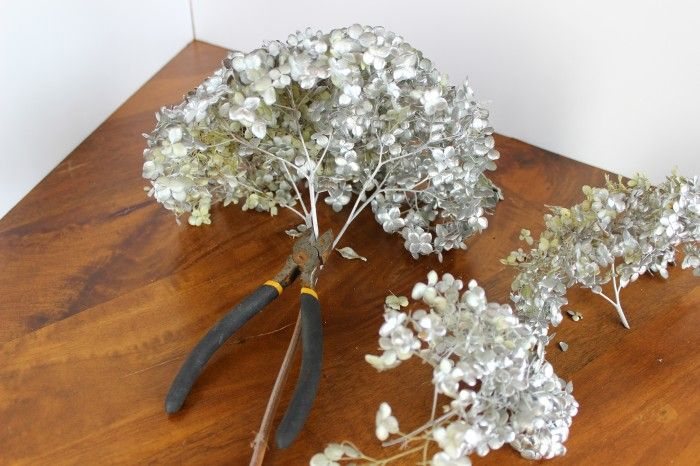 I used my silver painted hydrangeas to fill in my tree. I cut smaller pieces for parts of the tree that didn't have room for the big blooms.