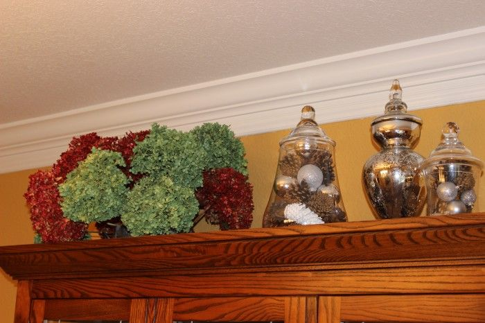 My Christmas display on my dining room china cabinet