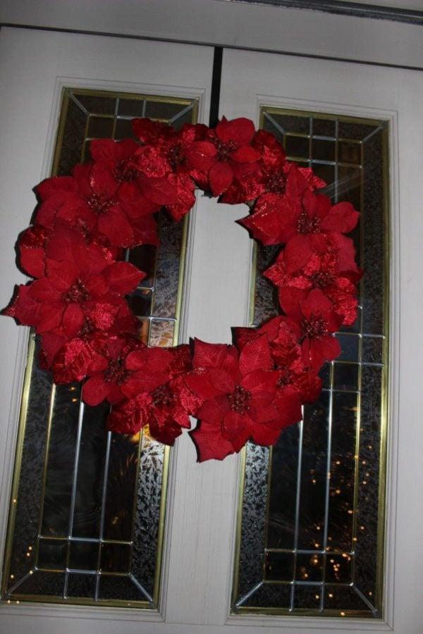 The red poinsettia wreath.