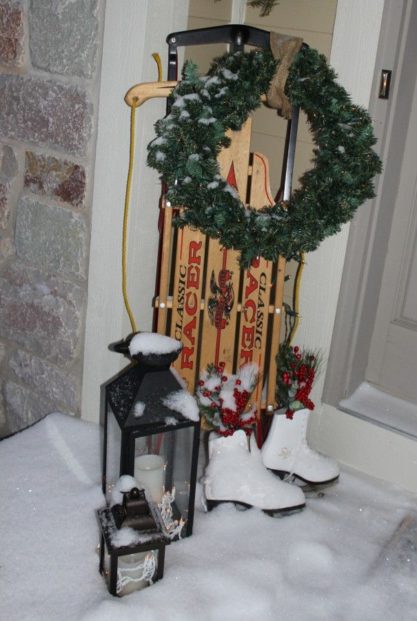 Sled, skates and a wreath!
