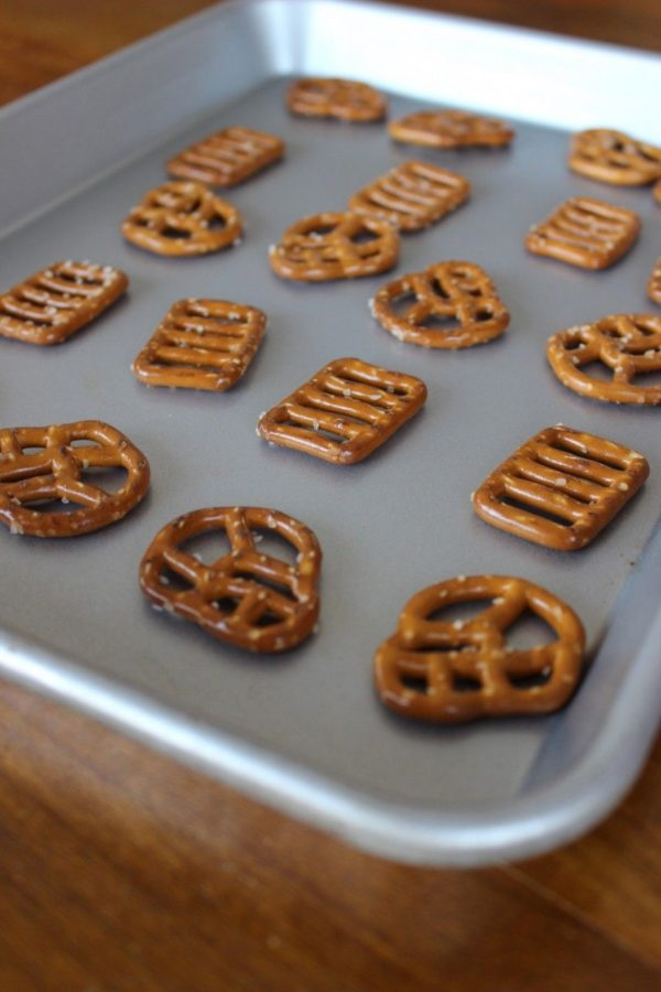 Spread out your pretzels on a baking sheet. Only as many as you can quickly work with.