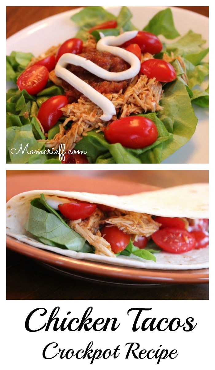 Chicken tacos. Crockpot recipe.