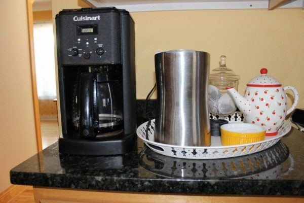 Coffee corner – corralling clutter.