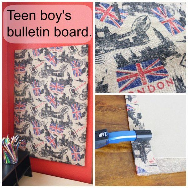 Bulletin board for teen boy's room