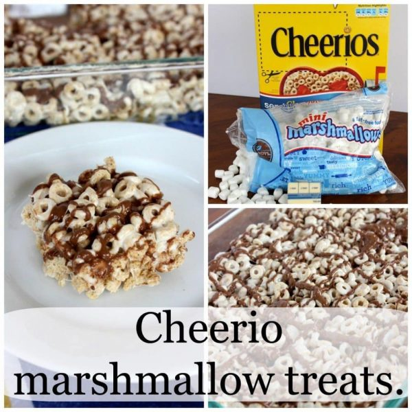 Cheerio marshmallow treats – with chocolate drizzle.
