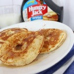 Apple pancakes. Slices of apple, covered in pancake batter - delicious with a little syrup!