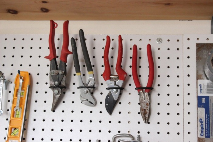tool pegboard with pliers