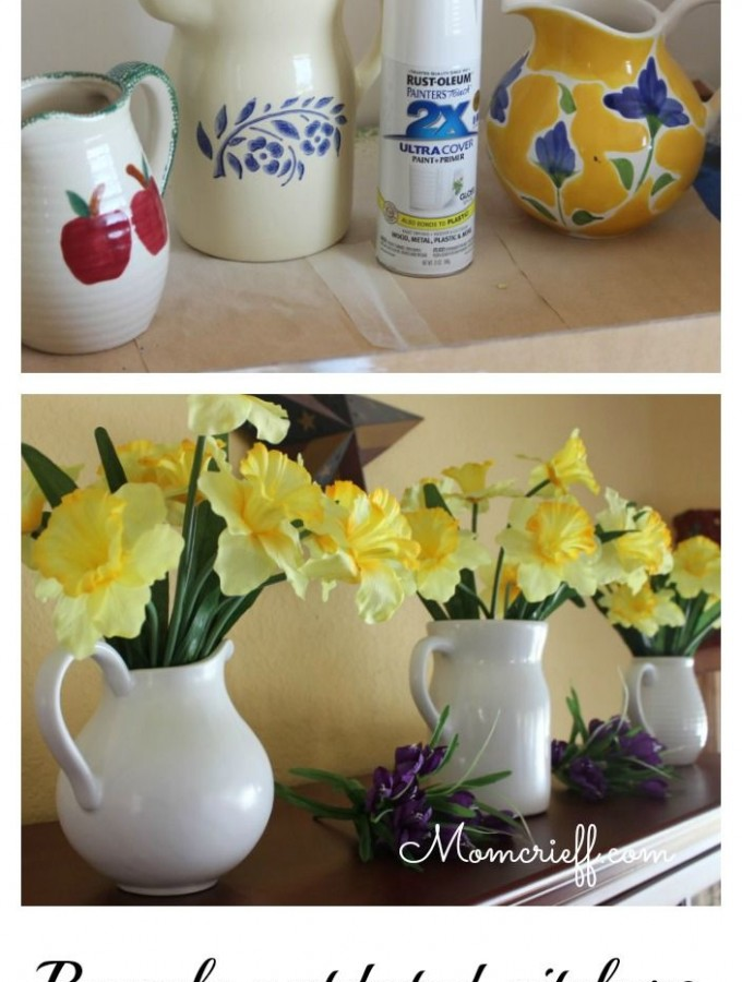 White pitchers & daffodils – make your own!