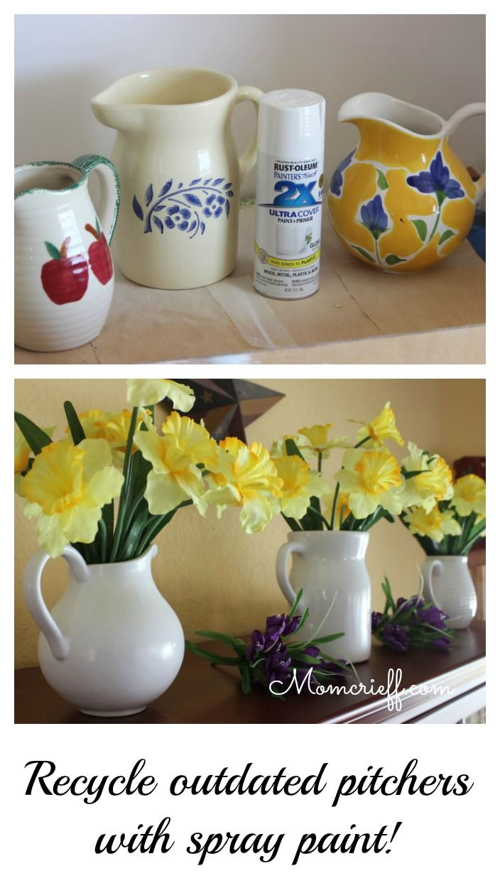 The before and after of tacky pitchers being transformed to beautiful, stylish white pitchers.
