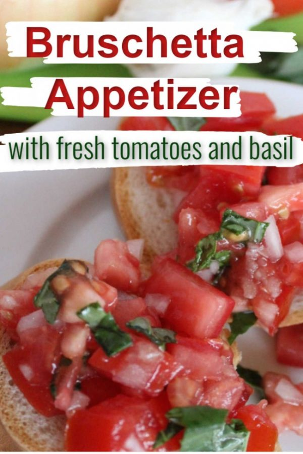 bruschetta with fresh tomatoes and basil on a slice of baguette