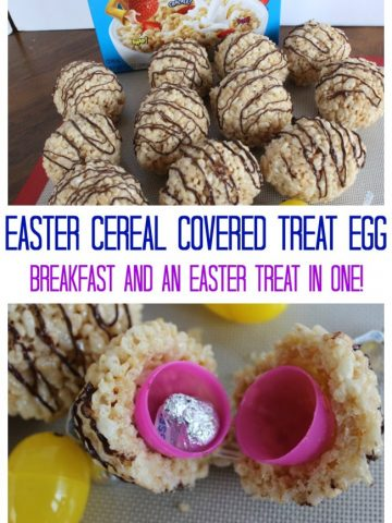 cereal covered plastic easter egg with another treat inside.