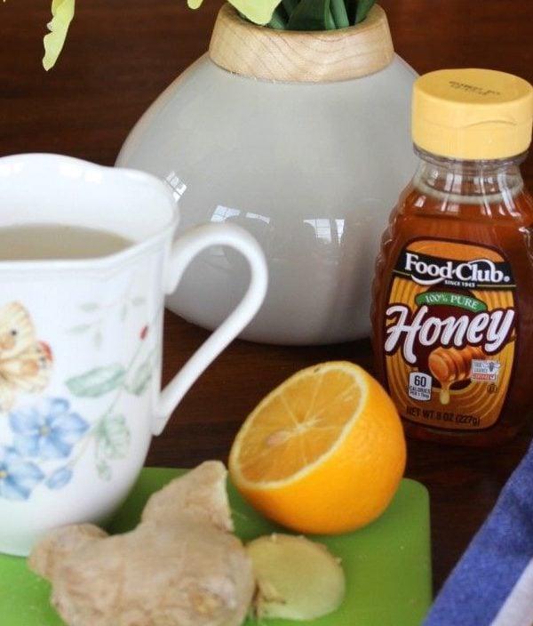 ginger lemon tea with honey
