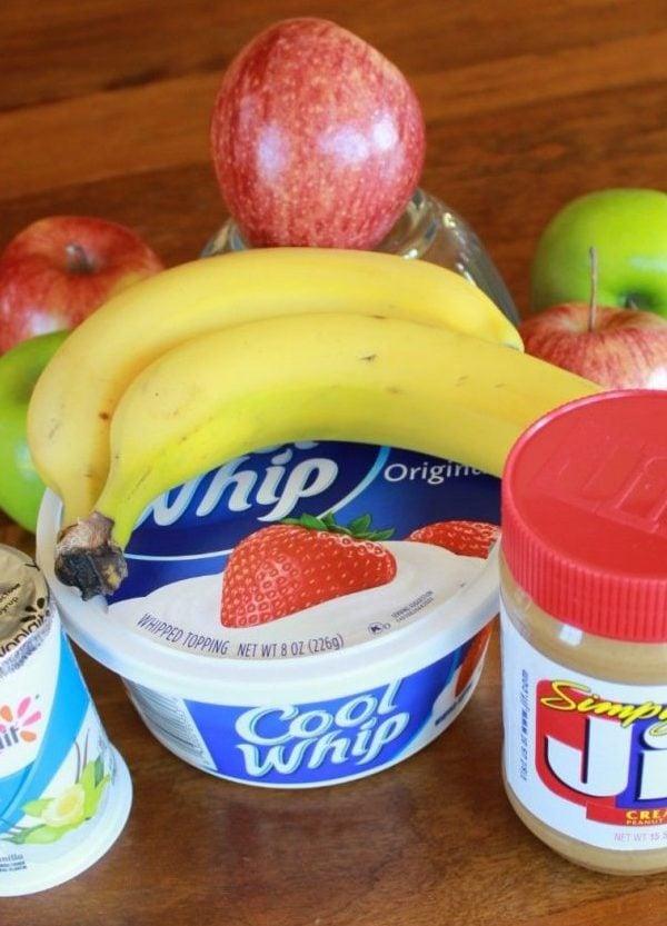 fruit dip ingredients - peanut butter, yogurt and cool whip