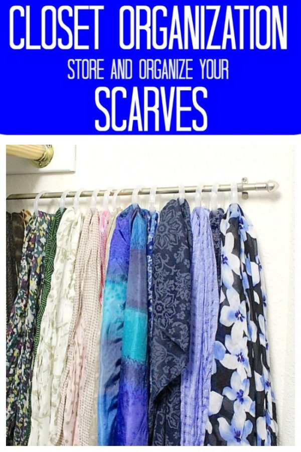 scarves organized on a rod in the closet