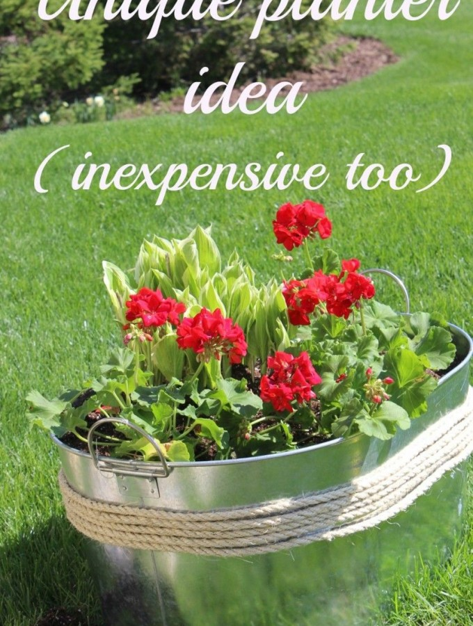 Make your own unique flower planter | container idea (inexpensive too!).