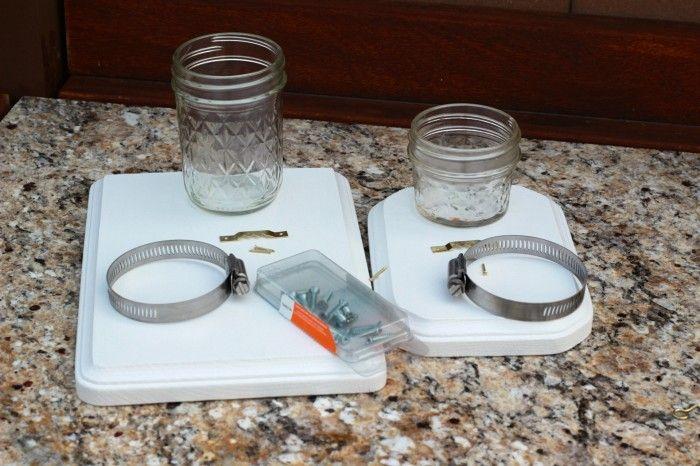 Materials to make the mason jar wall vase