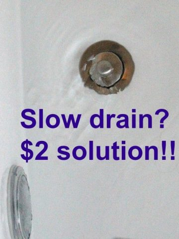 slow drain. $2.00 solution. Chemical free