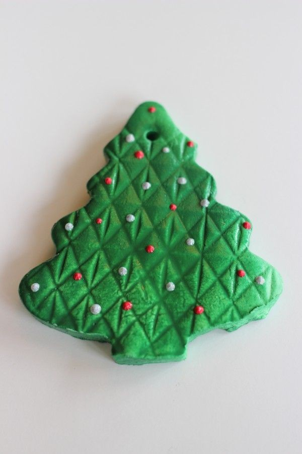 Green painted Christmas tree ornament