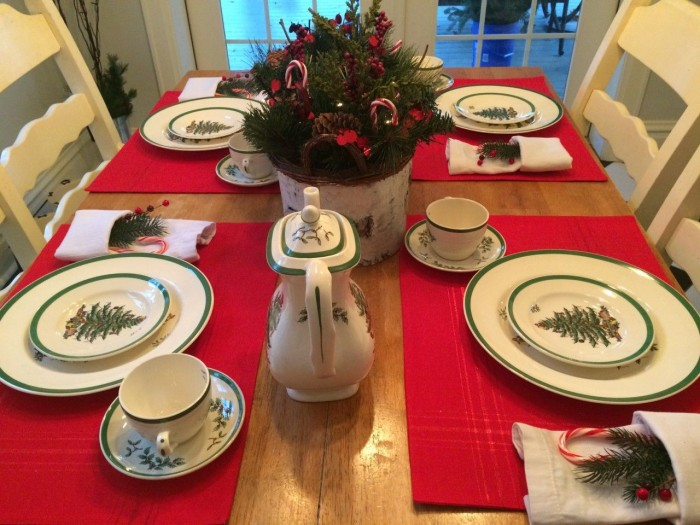 Christmas place settings.