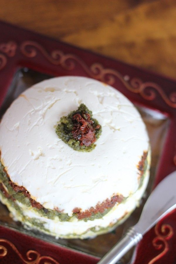 Pesto Torte (Pesto & Sun dried tomato cheese ball)