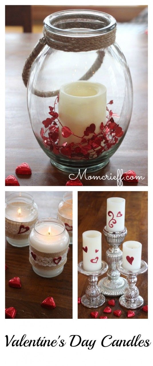 Valentine's Day Candles. An easy DIY where you recycle and repurpose what you have to decorate for Valentines Day!