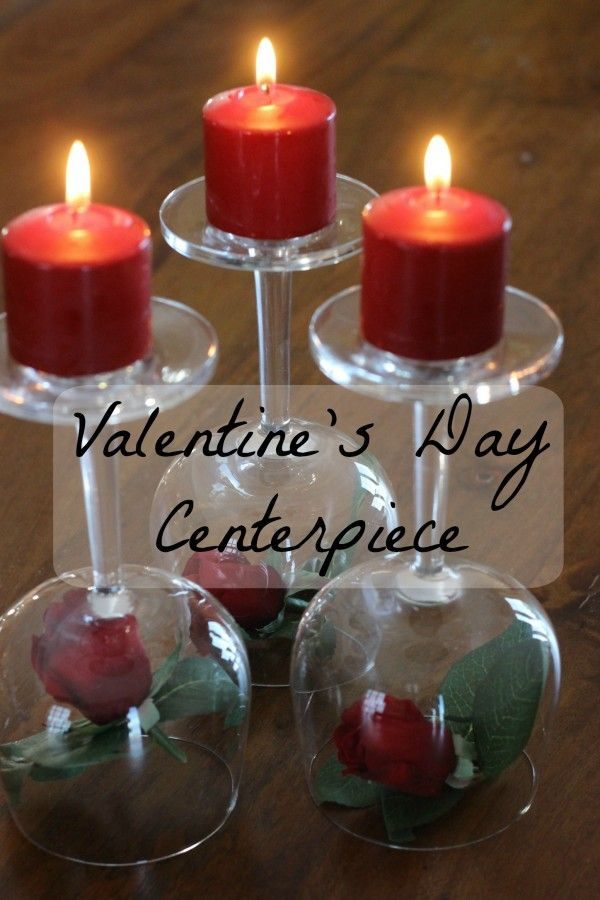 Valentine's Day Centerpiece- Roses, wineglasses & candles!