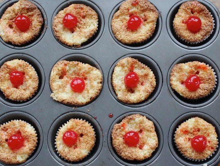 Three ingredient pineapple cupcakes with cherries