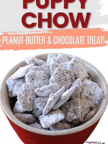 close up of puppy chow, a cereal treat covered in peanut butter and chocolate