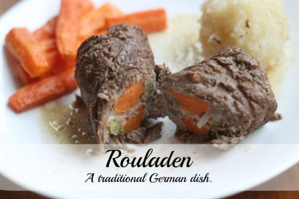 Rouladen – A German vegetable stuffed beef roll.