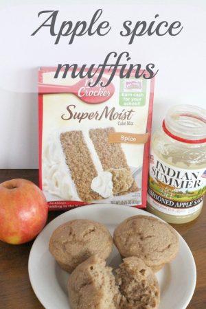 Three ingredient apple spice muffins.