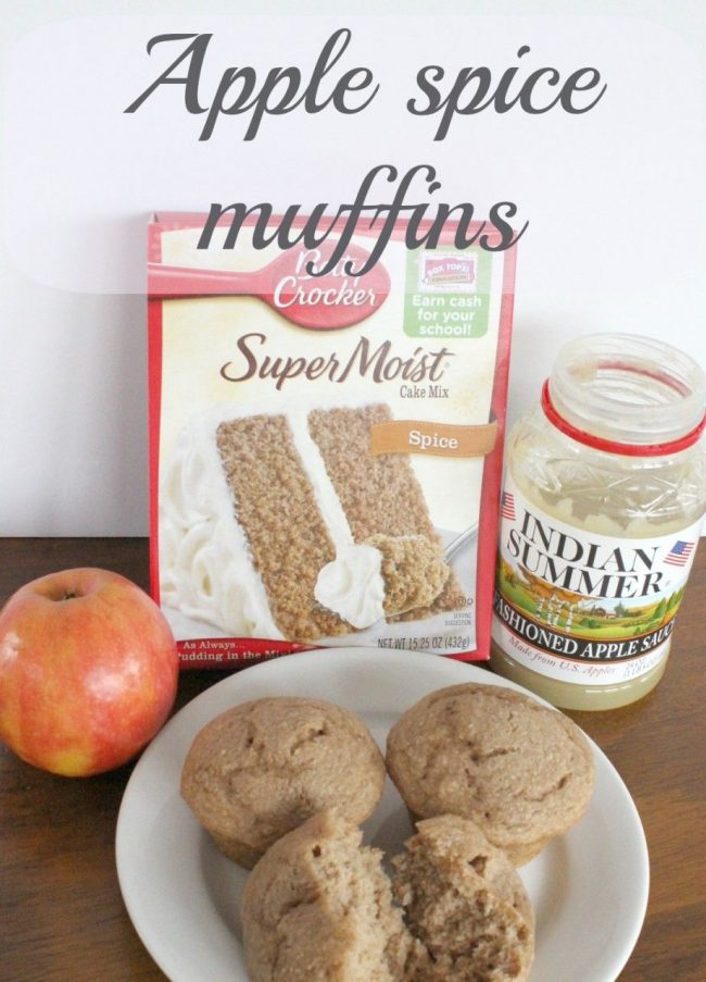 Three ingredient apple spice muffins.