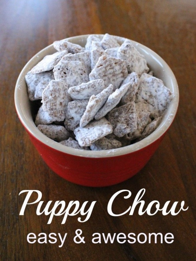 Puppy Chow. Or, Muddy Buddies. A chocolate, peanut butter, and powdered sugar covered cereal
