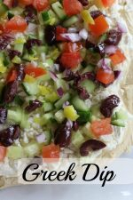 Greek Dip - with hummus, feta, olives, and other yummy ingredients!