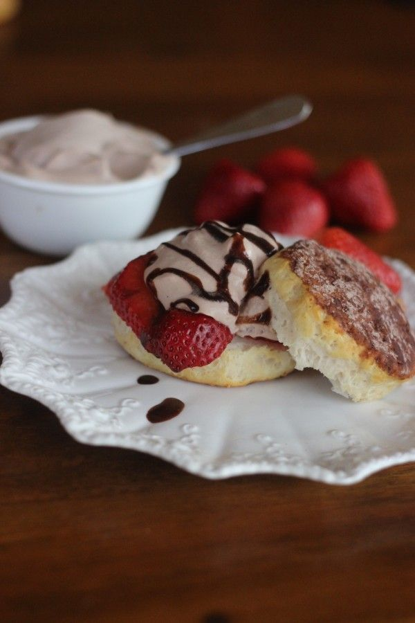 Strawberry shortcake with chocolate whipped cream.