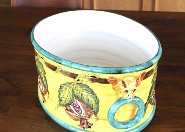 A colorful porcelain container that needs updating and repurposing